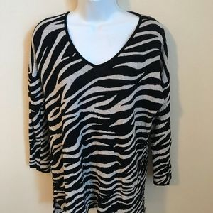 Dana Buchman Zebra print cotton sweater, Large